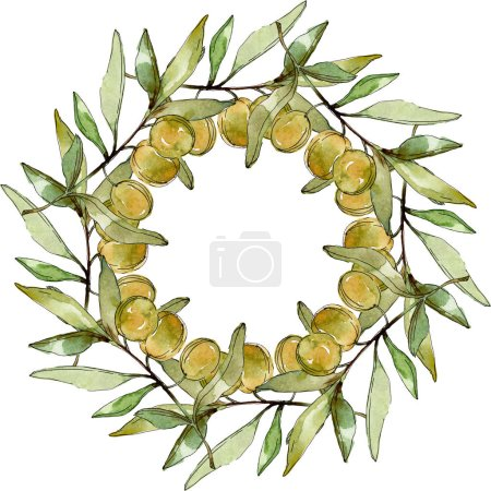 Foto de Frame with Green olives and leaves watercolor background illustration set. Watercolour drawing fashion aquarelle isolated. - Imagen libre de derechos