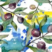 """Постер, картина, фотообои """"Черные оливки акварель фон иллюстрации набора. Акварель рисования моды акварель изолированы. Бесшовный фон узор. Обои для рабочего стола ткань печати текстуры"""""""