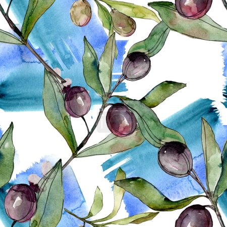 Black olives watercolor background illustration set. Watercolour drawing fashion aquarelle isolated. Seamless background pattern. Fabric wallpaper print texture.