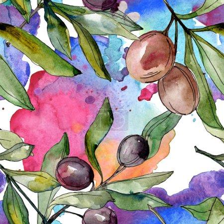 Photo pour Olives noires aquarelle fond illustration ensemble. Aquarelle dessin mode aquarelle isolé. Modèle de fond sans couture. Texture d'impression papier peint tissu . - image libre de droit