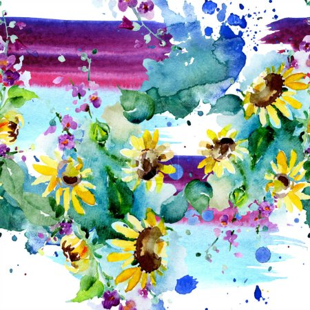 Photo for Bouquet of wildflowers and sunflowers. Watercolor background illustration set. Watercolour drawing fashion aquarelle isolated. Seamless background pattern. Fabric wallpaper print texture. - Royalty Free Image