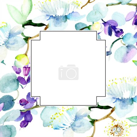 Bouquet of purple flowers. Watercolor background illustration set. Watercolour drawing fashion aquarelle isolated. Frame border ornament square.