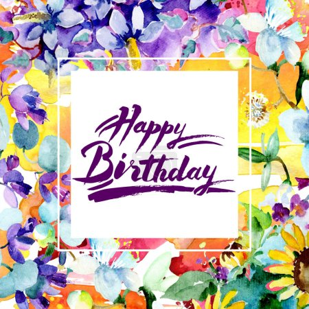 Photo for Bouquet flowers. Watercolor background illustration set. Frame border ornament square. Happy Birthday handwriting monogram calligraphy. - Royalty Free Image