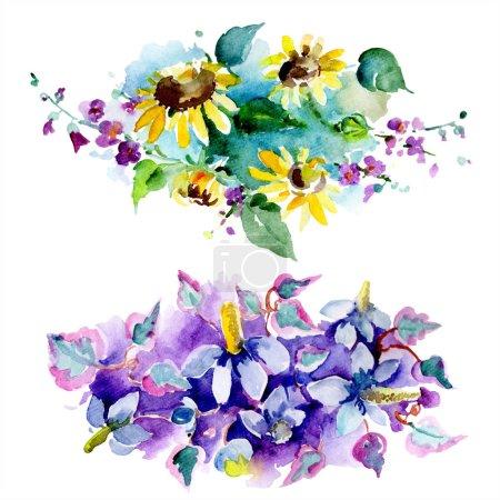 Photo pour Bouquets de fleurs sauvages et de tournesols. Aquarelle de fond illustration ensemble. Aquarelle de mode dessin aquarelle isolé. Motif de fond transparente. Impression texture de tissu papier peint - image libre de droit