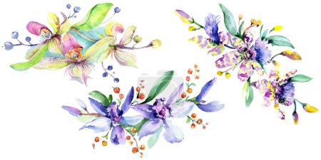 Photo for Pink and purple orchids. Watercolor background illustration set. Watercolour flower bouquet illustration element. - Royalty Free Image