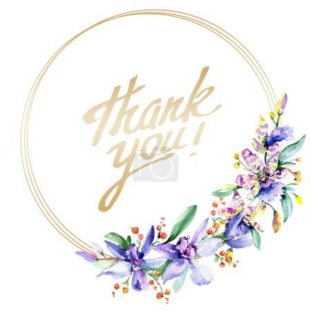 Photo pour Cadre avec des fleurs d'orchidée roses et violettes. Aquarelle dessin mode aquarelle isolé. Bordure de l'ornement avec signe de remerciement - image libre de droit