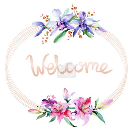 Photo for Frame with pink and purple orchid flowers. Watercolour drawing fashion aquarelle isolated. Ornament border with welcome sign - Royalty Free Image