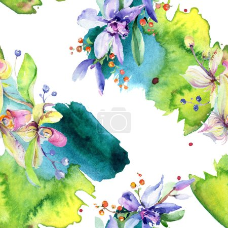 Photo for Pink and purple orchid flowers. Watercolour drawing fashion aquarelle isolated. Seamless background pattern. Fabric wallpaper print texture. - Royalty Free Image