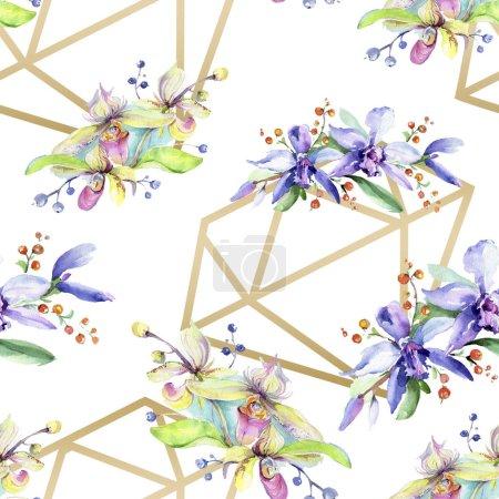 Photo pour Fleurs d'orchidée roses et violets. Aquarelle de mode dessin aquarelle isolé. Motif de fond transparente. Impression texture de tissu papier peint. - image libre de droit