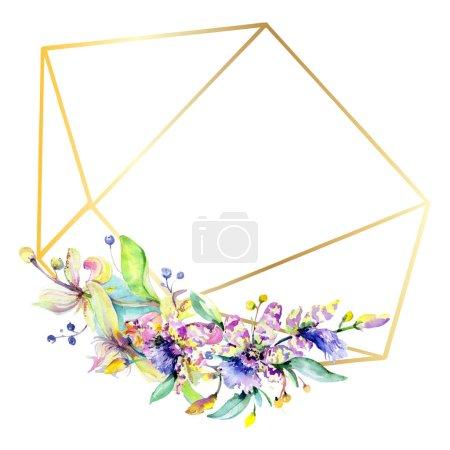 Foto de Marco con flores de orquídea, rosas y púrpuras. Acuarela dibujo moda aquarelle aislado. Frontera de ornamento - Imagen libre de derechos