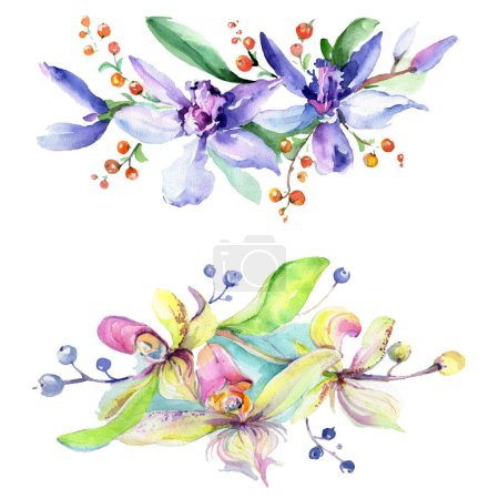 Pink and purple orchids. Watercolor background illustration set. Watercolour flower bouquet illustration element.