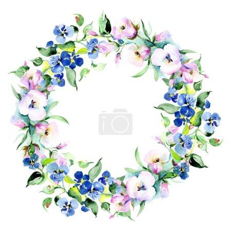 Foto de Marco de flores de colores de la primavera. Conjunto de ilustración de fondo de acuarela. Acuarela dibujo moda aquarelle aislado. Borde ornamental - Imagen libre de derechos