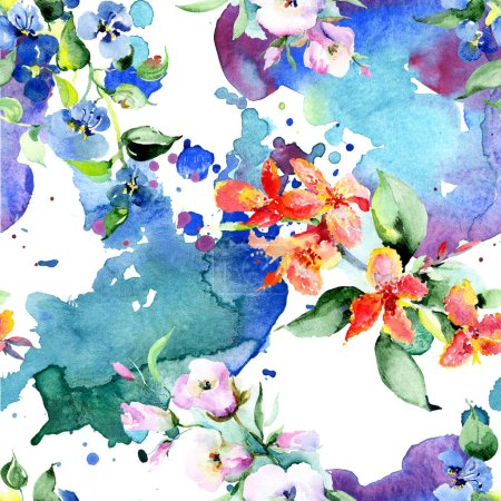 Photo for Background with colorful spring flowers. Watercolor background illustration set. Watercolour drawing fashion aquarelle isolated. Isolated bouquet texture - Royalty Free Image