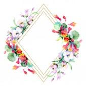 """Постер, картина, фотообои """"Рамка из Красочные Весенние цветы. Акварель фон иллюстрации набора. Акварель рисования моды акварель изолированы. Декоративные границы"""""""