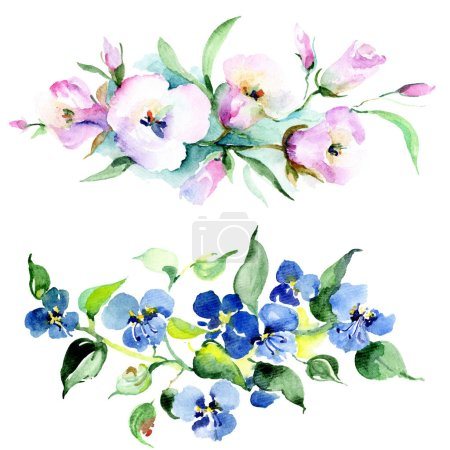 Bouquet of colorful spring flowers. Watercolor background illustration set. Watercolour drawing fashion aquarelle isolated. Isolated bouquet illustration element.