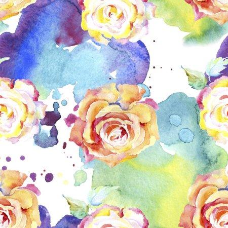 Flores de rosa anaranjada. Acuarela dibujo moda acuarela aislado. Patrón de fondo sin costuras. Textura de impresión de papel pintado de tela .