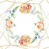 """Постер, картина, фотообои """"Рамка с оранжевыми цветами роз. Акварель фон иллюстрации набора. Акварель рисования моды акварель изолированы. Декоративные границы"""""""