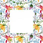"""Постер, картина, фотообои """"Цветочный орнамент ботанический цветок. Дикие весны листьев Уайлдфлауэр изолированы. Акварель фон иллюстрации набора. Акварель рисования моды акварель изолированы. Площадь орнамент границы кадра"""""""
