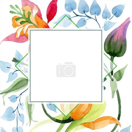 Photo pour Fleur botanique floral Ornament. Wildflower de feuille de printemps sauvage isolé. Aquarelle de fond illustration ensemble. Aquarelle de mode dessin aquarelle isolé. Place de cadre bordure ornement. - image libre de droit