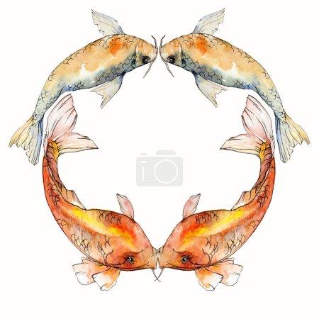 Photo pour Coffret aquarelle aquatique sous-marin coloré des poissons tropicaux. Mer rouge et des poissons exotiques à l'intérieur: poisson rouge. Éléments d'aquarelle fond, texture, motif de wrapper. Place de cadre bordure ornement - image libre de droit
