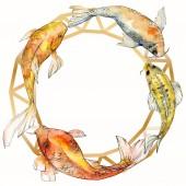 """Постер, картина, фотообои """"Набор акварели водной подводный разноцветных тропических рыб. Красное море и экзотических рыб внутри: Золотая рыбка. Акварель элементы для фона, текстуры, шаблон оболочки. Площадь орнамент границы кадра"""""""