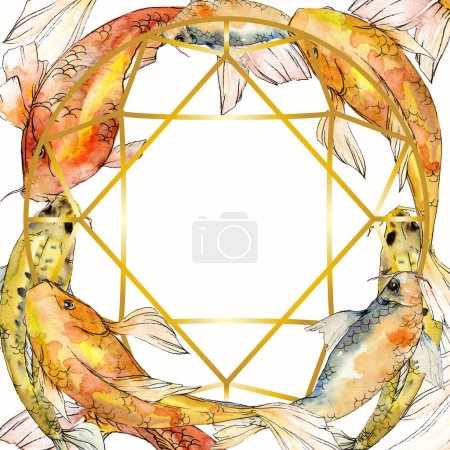 Photo for Watercolor aquatic underwater colorful tropical fish set. Red sea and exotic fishes inside: Goldfish. Aquarelle elements for background, texture, wrapper pattern. Frame border ornament square. - Royalty Free Image