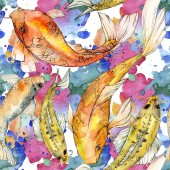 """Постер, картина, фотообои """"Набор акварели водной подводный разноцветных тропических рыб. Красное море и экзотических рыб внутри: Золотая рыбка. Акварель элементы для фона, текстуры, шаблон оболочки"""""""