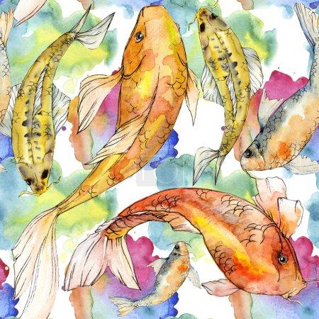 Photo pour Coffret aquarelle aquatique sous-marin coloré des poissons tropicaux. Mer rouge et des poissons exotiques à l'intérieur: poisson d'or. Éléments d'aquarelle pour fond, texture, motif de wrapper. - image libre de droit