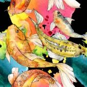 """Постер, картина, фотообои """"Набор акварели водной подводный разноцветных тропических рыб. Красное море и экзотических рыб внутри: Золотая рыбка. Акварель элементы для фона, текстуры, шаблон оболочки."""""""