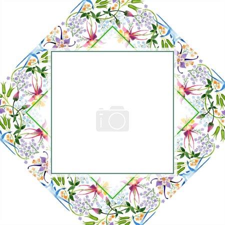Foto de Conjunto de ilustración de fondo de acuarela. Ornamento floral de la frontera acuarela marco vacío con espacio de copia. - Imagen libre de derechos