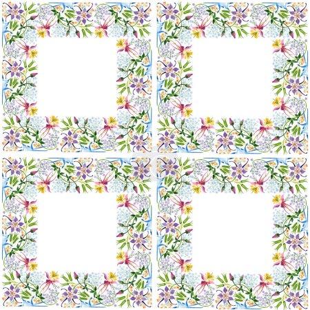 Foto de Conjunto floral de fondo acuarela ilustración. Patrón de fondo transparente. Textura impresión de papel pintado de tela. - Imagen libre de derechos