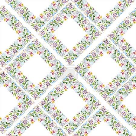 Foto de Conjunto floral de fondo acuarela ilustración. Patrón de fondo transparente. Textura impresión de papel pintado de tela - Imagen libre de derechos