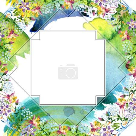 Photo pour Aquarelle de fond illustration ensemble. Ornement floral frontière d'aquarelle bloc vide avec espace copie. - image libre de droit
