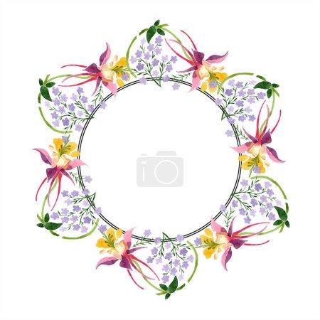 Conjunto de ilustración de fondo acuarela. Acuarela marco vacío borde ornamento floral con espacio de copia .