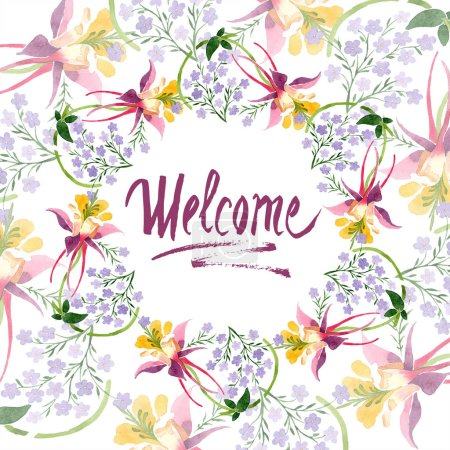 Photo for Watercolor background illustration set with floral ornament and welcome lettering - Royalty Free Image