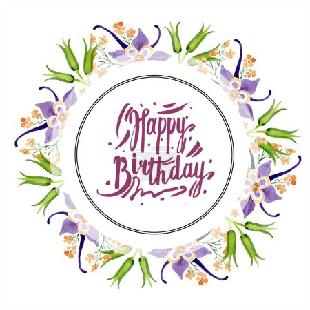 Photo for Watercolor background illustration set with floral ornament and happy birthday lettering - Royalty Free Image