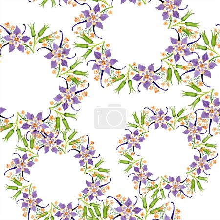 Photo for Watercolor background illustration floral set. Seamless background pattern. Fabric wallpaper print texture. - Royalty Free Image