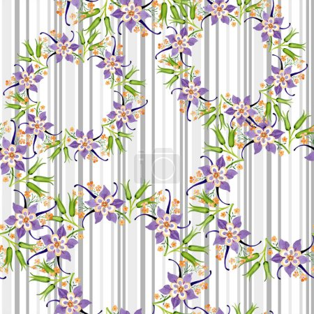 Photo pour Aquarelle fond illustration ensemble floral. Modèle de fond sans couture. Texture d'impression papier peint tissu . - image libre de droit
