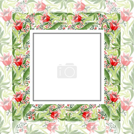 Photo for Red floral botanical flower. Wild spring leaf wildflower isolated. Watercolor background illustration set. Watercolour drawing fashion aquarelle isolated. Frame border ornament square. - Royalty Free Image