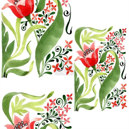 Photo for Red floral botanical flower. Wild spring leaf isolated. Watercolor illustration set. Watercolour drawing fashion aquarelle. Seamless ornament background pattern. Fabric wallpaper print texture. - Royalty Free Image