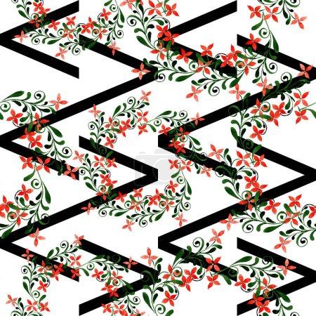 Photo pour Fleur botanique florale rouge. Feuille de printemps sauvage isolée. Ensemble d'illustration aquarelle. Aquarelle dessin mode aquarelle. Ornement sans couture motif de fond. Texture d'impression papier peint tissu . - image libre de droit