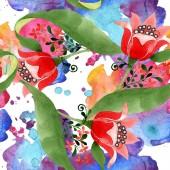 """Постер, картина, фотообои """"Красный цветок Цветочные ботанический. Дикие весны листьев изолированы. Набор акварели иллюстрации. Рисования акварелью моды акварель. Бесшовные орнамент фоновый узор. Обои для рабочего стола ткань печати текстуры."""""""
