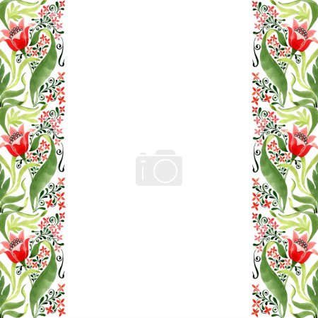 Red floral botanical flower. Wild spring leaf wildflower isolated. Watercolor background illustration set. Watercolour drawing fashion aquarelle isolated. Frame border ornament square.
