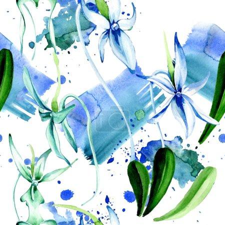 Foto de Orquídea rara azul. Flor botánica floral. Hoja de primavera salvaje. Juego de ilustración en acuarela. Acuarela dibujo moda acuarela aislado. Patrón de fondo sin costuras. Textura de impresión de papel pintado de tela . - Imagen libre de derechos