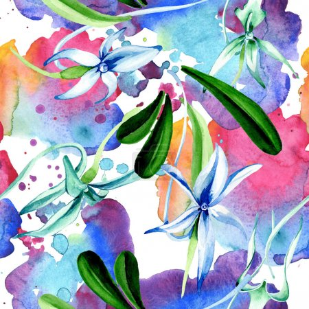 Photo for Blue Rare orchid. Floral botanical flower. Wild spring leaf. Watercolor illustration set. Watercolour drawing fashion aquarelle isolated. Seamless background pattern. Fabric wallpaper print texture. - Royalty Free Image