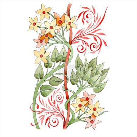 Photo for Yellow and red floral botanical ornament. Watercolor background illustration set. Isolated ornament illustration element. - Royalty Free Image