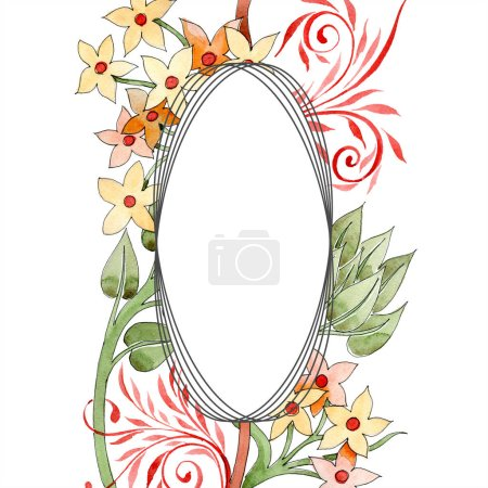 Photo for Colorful floral ornament with swirls. Watercolor background illustration set. Frame border ornament with copy space. - Royalty Free Image