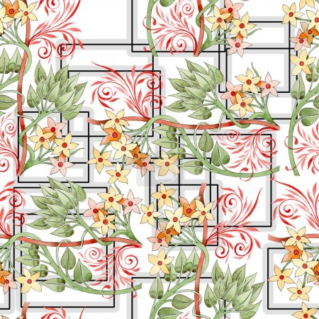 Photo for Colorful floral botanical ornament. Watercolor illustration set. Seamless background pattern. Fabric wallpaper print texture. - Royalty Free Image