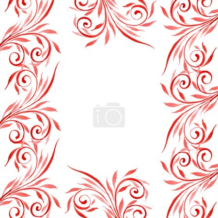 Photo pour Rouge ornement floral avec des tourbillons. Aquarelle de fond illustration ensemble. Ornement de bordure cadre avec espace copie. - image libre de droit
