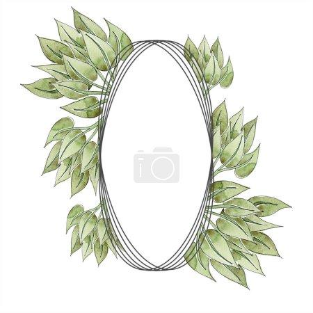 grüne florale Ornamente mit Wirbeln. Aquarell Hintergrundillustration Set. Rahmen-Bordüre mit Kopierraum.
